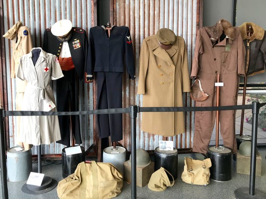 Military uniforms dating back to World War II are on