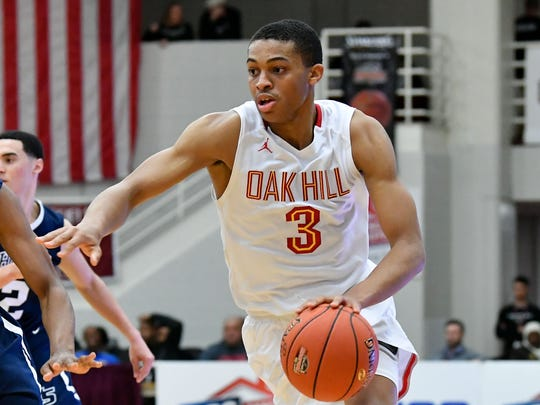 Oak Hill Academy Warriors guard Keldon Johnson (3)