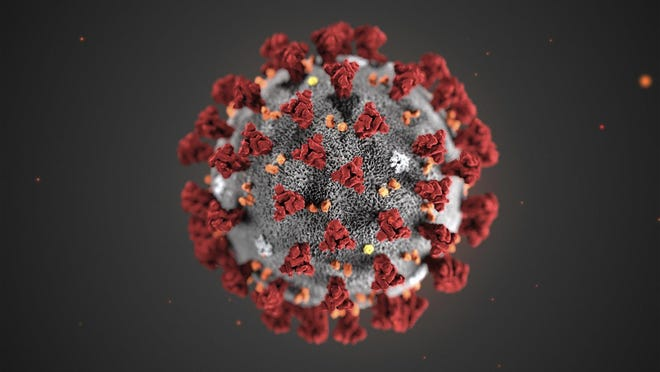 This illustration provided by the Centers for Disease Control and Prevention in January 2020 shows the 2019 Novel Coronavirus. This virus was identified as the cause of an outbreak of respiratory illness first detected in Wuhan, China.