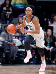 Michigan State's Branndais Agee pushes the ball up