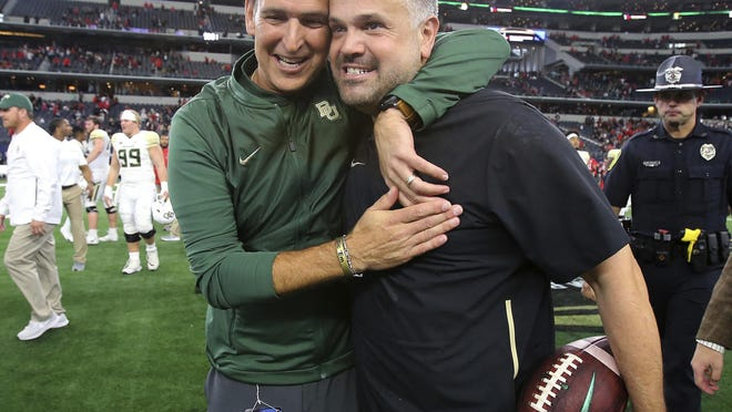 Matt Rhule, right, will spearhead the Carolina Panthers' rebuild after a string of disappointing seasons.