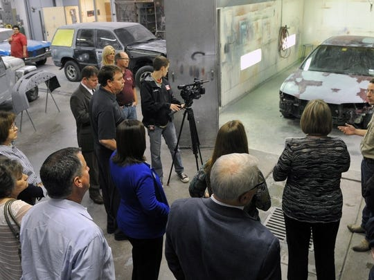 Collision Repair instructor David Boller describes the limitations and outdated technology of the Carrigan Career and Technical Center during a tour in 2015. The Wichita Falls ISD will soon open its new Career Education Center, which will include some 25 career paths, from automotive to cosmetology, computer science, nursing and more.