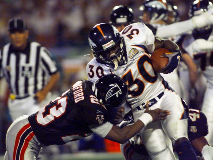 Super Bowl XLVIII marks the first time in the history of the game that the NFL's No. 1 offense in terms of both scoring and yards gained (Broncos) faces a defense that allowed the fewest points and yards (Seahawks). USA TODAY Sports' Nate Davis looks at some of the most heralded offenses to reach Super Sunday.  10. 1998 Broncos (beat Falcons 34-19 in Super Bowl XXXIII) After winning MVP honors in previous season's Super Bowl, Terrell Davis became only 2,000-yard rusher to win a ring.