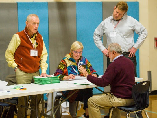 Election officials count ballots at Tuttle Middle School