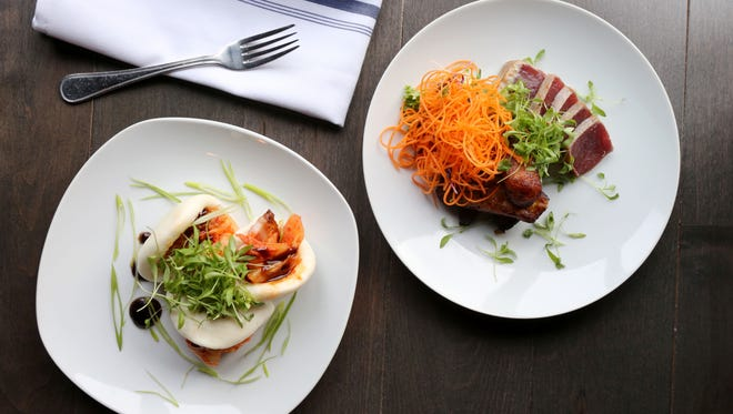 The steamed buns and seared tuna at Clock Tower Grill in Brewster.