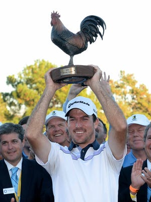 Nick Taylor, 26, overcame a four-shot deficit to win the Sanderson Farms Championship in 2014. He'll return to defend his title in November.