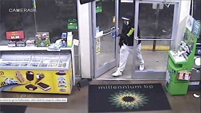 The suspect in an armed robbery at a Greenville gas station is pictured in this surveillance image.