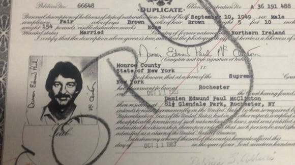 Damien McClinton immigration papers.
