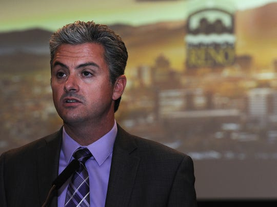 Reno's City Manager Andrew Clinger speaks during a press conference at Reno City Hall on May 21, 2015.
