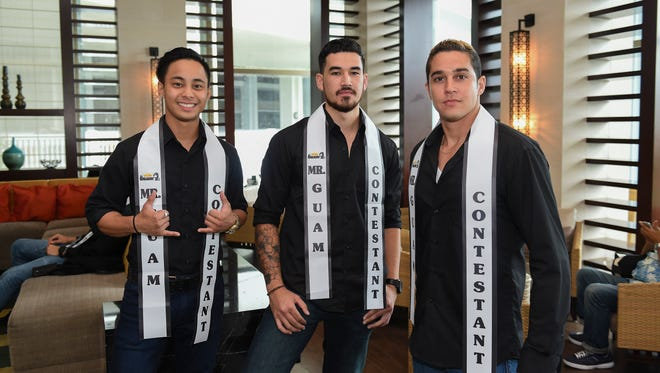 Mister Guam 2016 contestants Jordan Mafnas, left, Jon Kanemoto, center, and Tarek Barhoum, right, pose for a picture at The Point in the Sheraton Laguna Guam Resort on July 31.