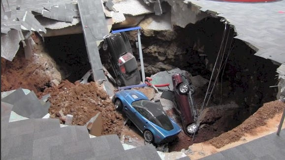 The cars that fell into the sinkhole at the  National Corvette Museum have since been removed and put on display.
