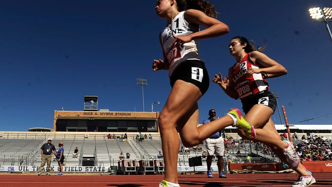 Abilene High's Ashton Endsley (2207) runs ahead of the pack in the Class 6A girls 3200m during the UIL State Track and Field Championships on Friday, May 12, 2017, at Mike A. Myers Stadium in Austin. Endsley finished second in the race with a time of 10:31.97.