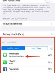 iPhone background activity