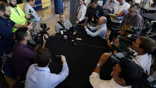 Tennessee basketball coach Rick Barnes answers a question at SEC Media Days on Wednesday at Bridgestone Arena.