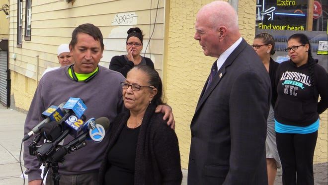New Rochelle Police Commissioner Patrick Carroll, right, with Luis and Ester Ayala, hold a press conference Sept. 28, 2016, seeking help from the public concerning the shooting death of his father and her husband Manuel Ayala that occurred Aug. 6, 2016 in front of 238 Union Avenue in New Rochelle. An reward of $2500.00 is being offered by the New York State Crimestoppers.