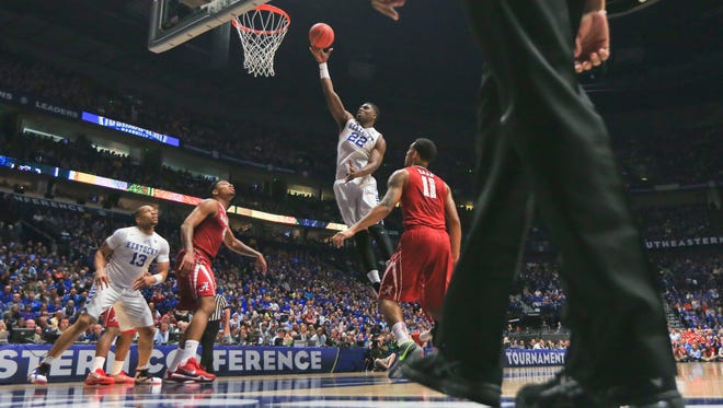 Kentucky's Alex Poythress had 20 points and team-high seven rebounds as UK won easily over Alabama 85-59 Friday night in the SEC Tournament in Nashville.