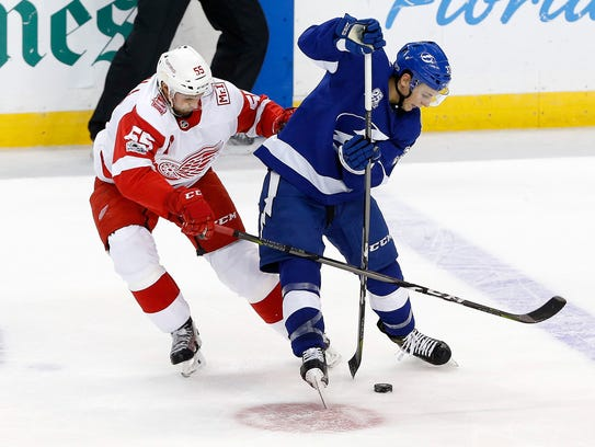 Red Wings defenseman Niklas Kronwall (55) defends Lightning