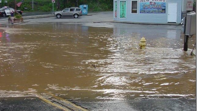 Flood water near Route 851 in Railroad on July 23.