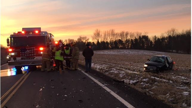 The Mansfield post of the Ohio Highway Patrol Tuesday morning handled a crash on Ohio 97 outside Lexington which resulted in minor injuries to two people.