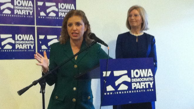 Rep. Debbie Wasserman Schultz, D-Fla., and Iowa Democratic Party chair Andy McGuire critique Steve King's Iowa Freedom Summit Saturday.