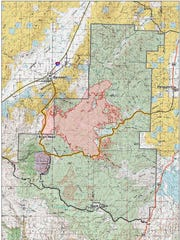 A map depicting the areas effected by the Brian Head fire on June 27.