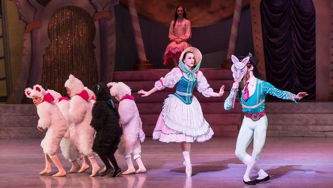 "Swiss Shepherdess and Shepherd with Little Lambs in Nashville Ballet's 10th anniversary production of ""Nashville's Nutcracker."""