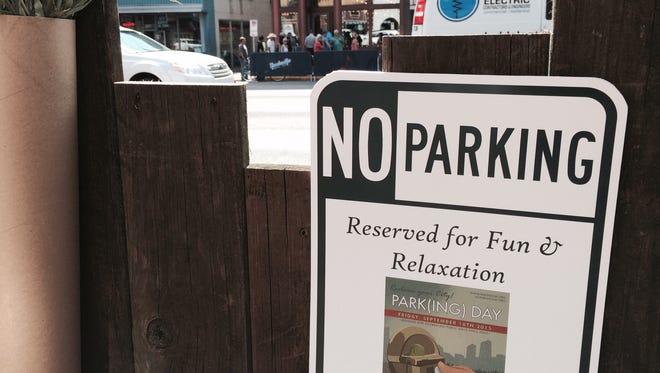 PARK(ing) Day sign in downtown Nashville on September 18, 2015.