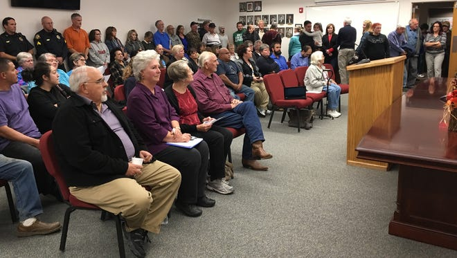Bloomfield residents crowd into the City Council Chambers at Bloomfield City Hall on Monday. Residents voiced their support for the Ten Commandment monument outside City Hall and shared their frustration over the closure of the city's Fitness Center.
