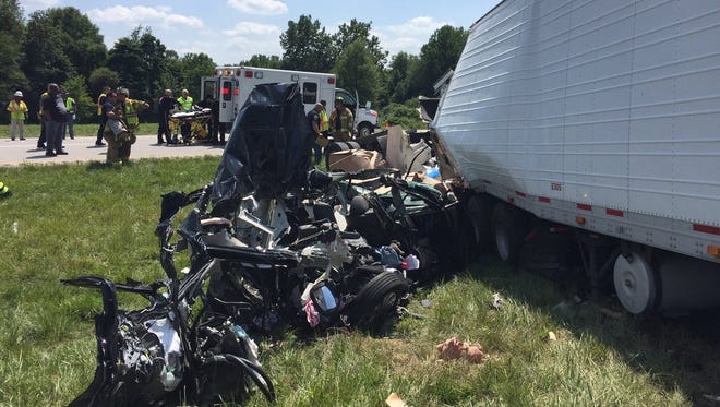 Officials say two children were killed in a crash on I-70  near Terre Haute on July 18, 2017.