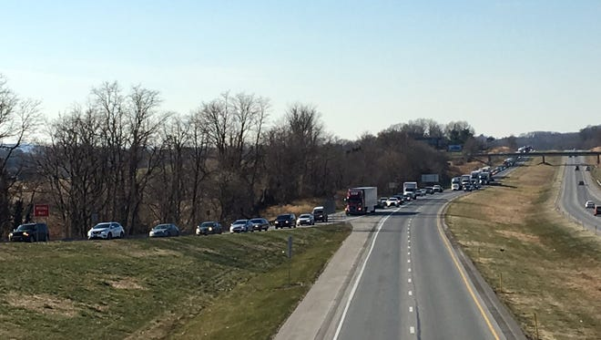 Traffic is backed up as vehicles try to exit Route 30 eastbound at Wrightsville around noon Thursday.
