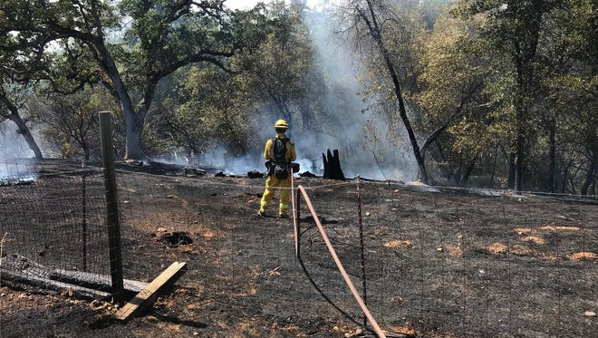 Crews extinguish a vegetation fire off Panther Road in Happy Valley on Tuesday afternoon.