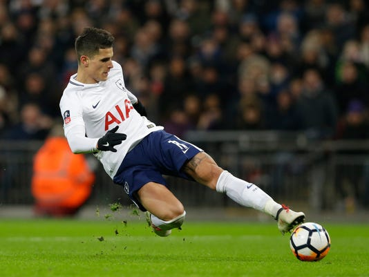 Tottenham's Erik Lamela takes a shot on gaol during the English FA Cup fourth round replay soccer match between Tottenham Hotspur and Newport County at Wembley stadium in London, Wednesday, Feb. 7, 2018. (AP Photo/Alastair Grant)