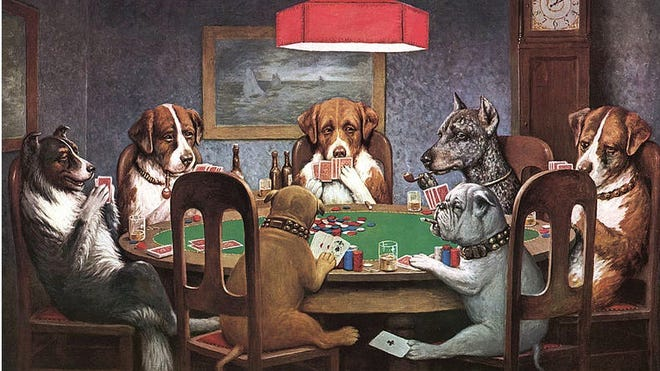 A Friend in Need is one of the many dogs-playing-poker works created by Cassius M. Coolidge.