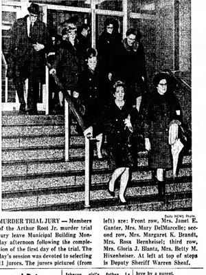 Members of the jury in the Arthur Root, Jr. murder trial leave the Lebanon County courthouse on Feb. 9, 1970.