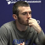 Brett Comer speaks to the media after his final college game, FGCU's 75-69 home loss to Texas A&M Corpus Christi in the first round of the CIT, March 18, 2015.