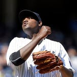 New York Yankees starting pitcher Michael Pineda reacts after giving up a solo home run during the fifth inning of a baseball game against the Tampa Bay Rays on Sunday, April 24, 2016, in New York.