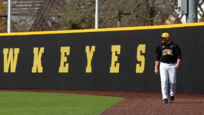 Iowa pitcher C.J. Eldred warms up before the Hawkeyes' game against Northern Illinois at Duane Banks Field on Tuesday, March 29, 2016.