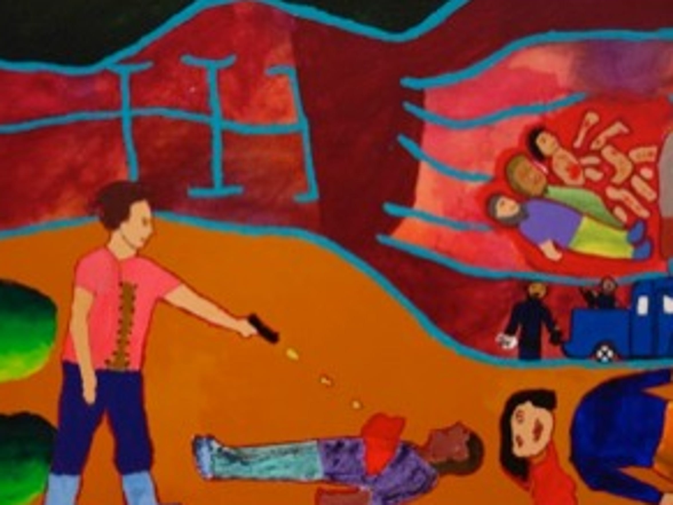 A boy watched his father assassinated by the cartel on his ninth birthday. He fled to the United States and painted this picture as part of a mural called Second Chances, while he was staying at a secure facility for unaccompanied youth in Augusta County.