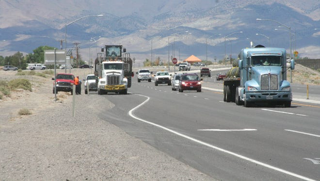 Traffic speeds up on U.S. 50A east of the roundabout in Fernley. City Councilman Cal Eilrich has asked the council to request the Nevada Department of Transportation to consider lowering the speed limit east of the Out-of-Town Park.