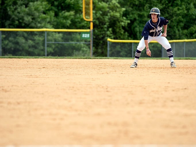 West York's Zach Gettys gets a lead off of first base,