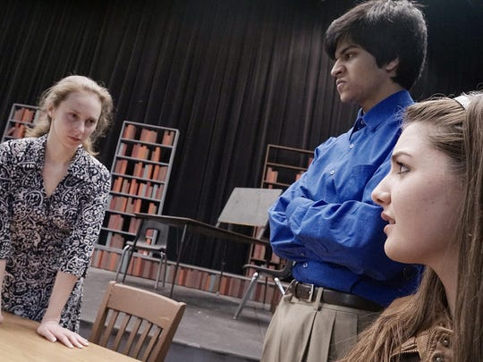 The dead student's mother, Dawn Sheridan (Madison Fifer) confronts Caitlin (Amanda Barberena) about the shooting. Caitlin is protected by her father, Nolan Gabriel (Muhammad Anwar).