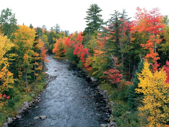 The Dead River in Big Bay, Mich., with fall foliage