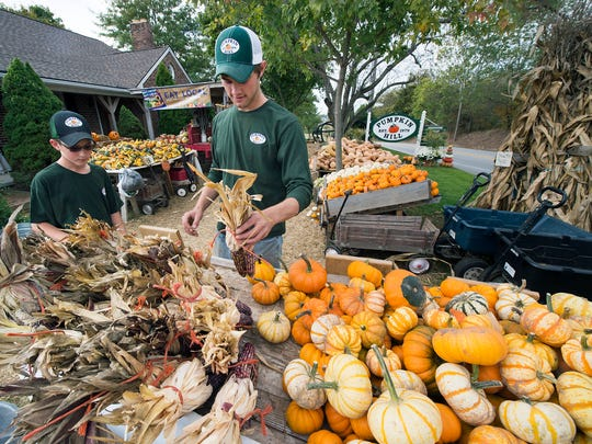 Trey Zeigler, left, works with Landen Burgard placing dried corn and pumpkins at Pumpkin Hill along Route 234 in Paradise  Township just east of East Berlin.