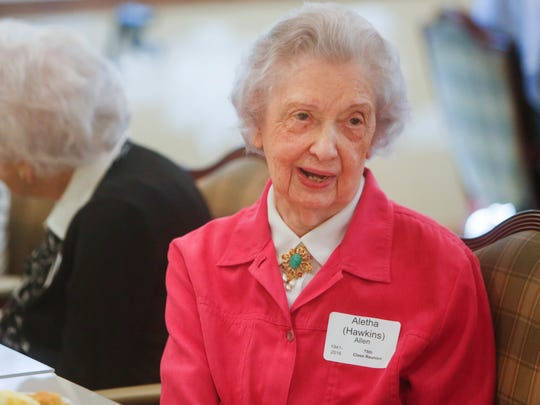 Aletha Allen, graduate of Springfield High School's Class of 1941, talks while attending the 75th class reunion on Wednesday, September 28, 2016 at The Montclair.