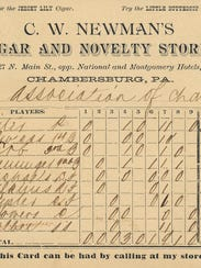 This is a score card from the early 1890s of Clay Henninger's