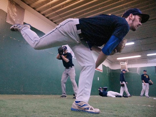 Getting in some reps Wednesday is Schoolcraft pitcher