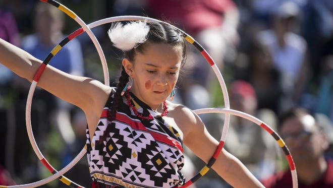 Feliciana Talachy (Pueblo of Pojaque) performs during the World Championship Hoop Dance Contest, February 10, 2018, at the Heard Museum, 2301 North Central Avenue, Phoenix.
