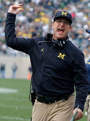 Michigan football coach Jim Harbaugh reacts during the fourth quarter against Michigan State on Saturday, Oct. 29, 2016, in East Lansing.