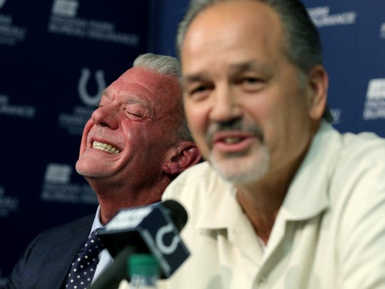 The Indianapolis Colts announce that head coach Chuck Pagano will return as he signs a contract extension with the team. Here Indianapolis Colts head coach Chuck Pagano shares a laugh with Colts owner Jim Irsay.