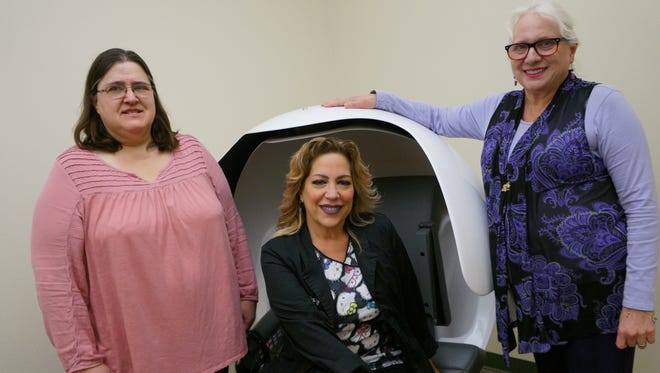 New Mexico State University researchers, from left, Conni DeBlieck, Stephanie Lynch and Linda Summers have published the findings of their study of adolescent stress and the efficiency of two stress reduction devices, the EnergyPod and the SleepWing. Their study found that teens benefit from 20-minute naps during the day to reduce stress and agitation.
